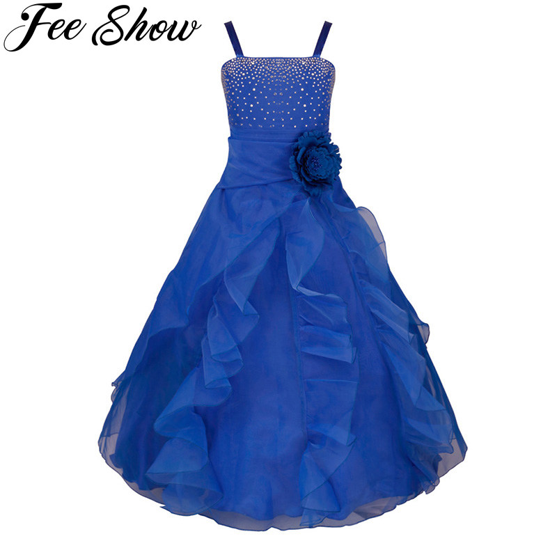 Elegant Girls Dress Gowns Kids Princess Wedding Dress Party Wear Girls Evening Prom Dress Birthday Frocks Bridesmaid Clothing
