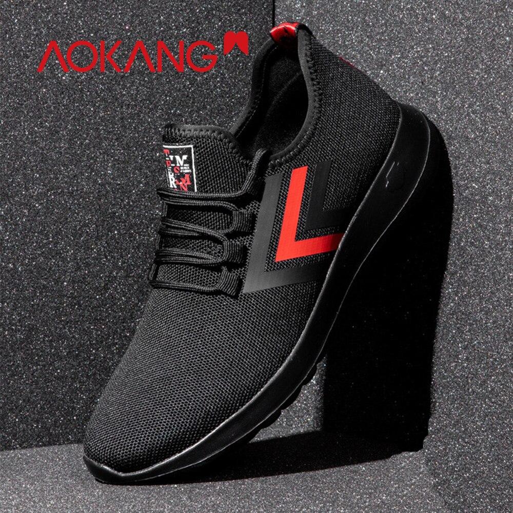Até Sapatos Hombre Casuais Luz Deportiva Aokang Respirável Tênis Homens Black193130087 2019 Confortáveis Rendas Primavera Zapatillas Tqwf8A