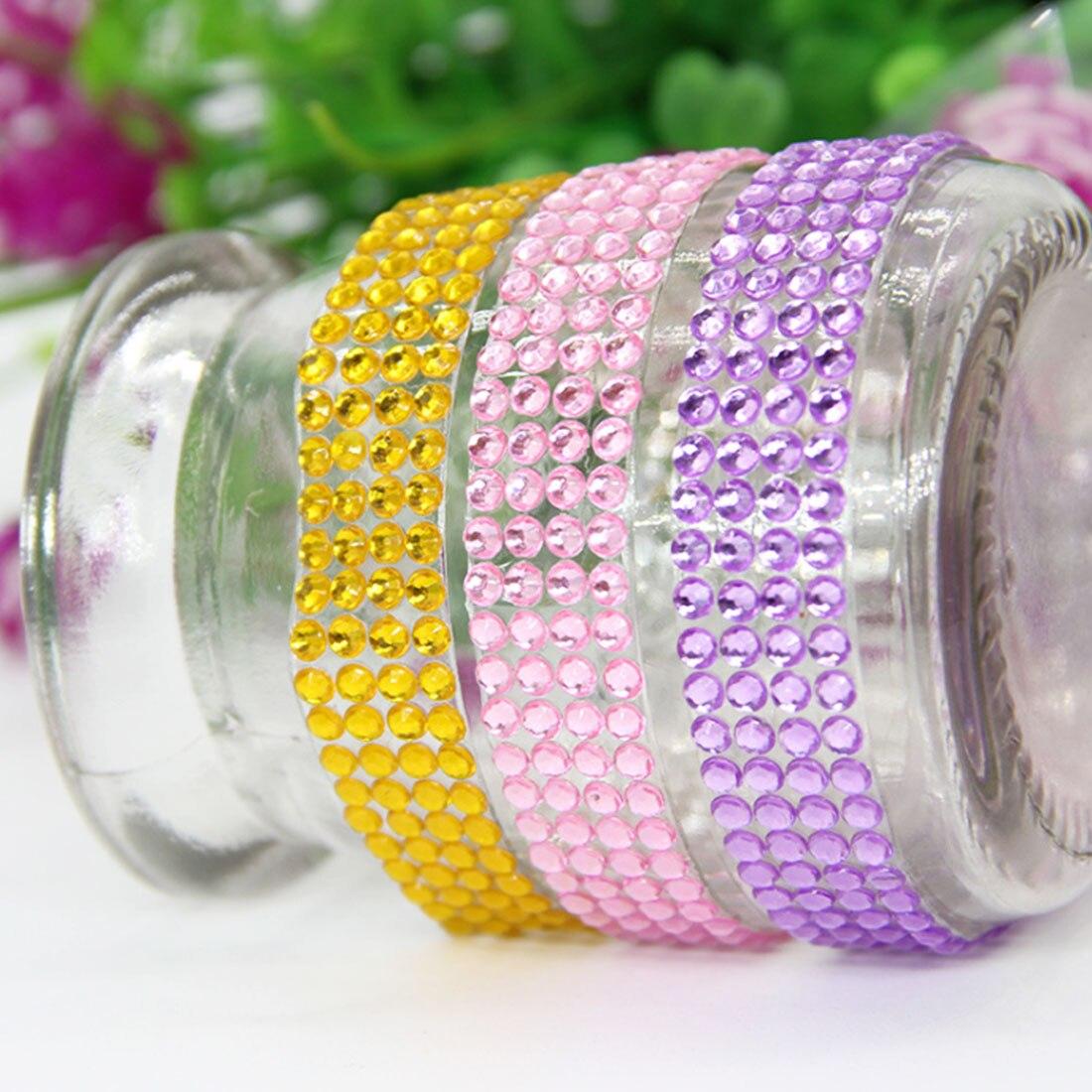Crystal Colorful Acrylic Self-adhesive Rhinestone Sticker Tape Craft Flash Gem  DIY Sticker Clip Art 93000fb8497b