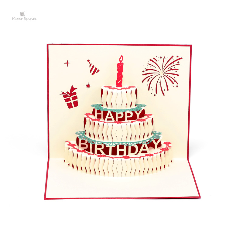 PAPER SPIRITZ Laser Cut Birthday Cake 3d Pop Up Paper Card With Blank Envelope Invitations Greeting Cards Happy Gift Invitation