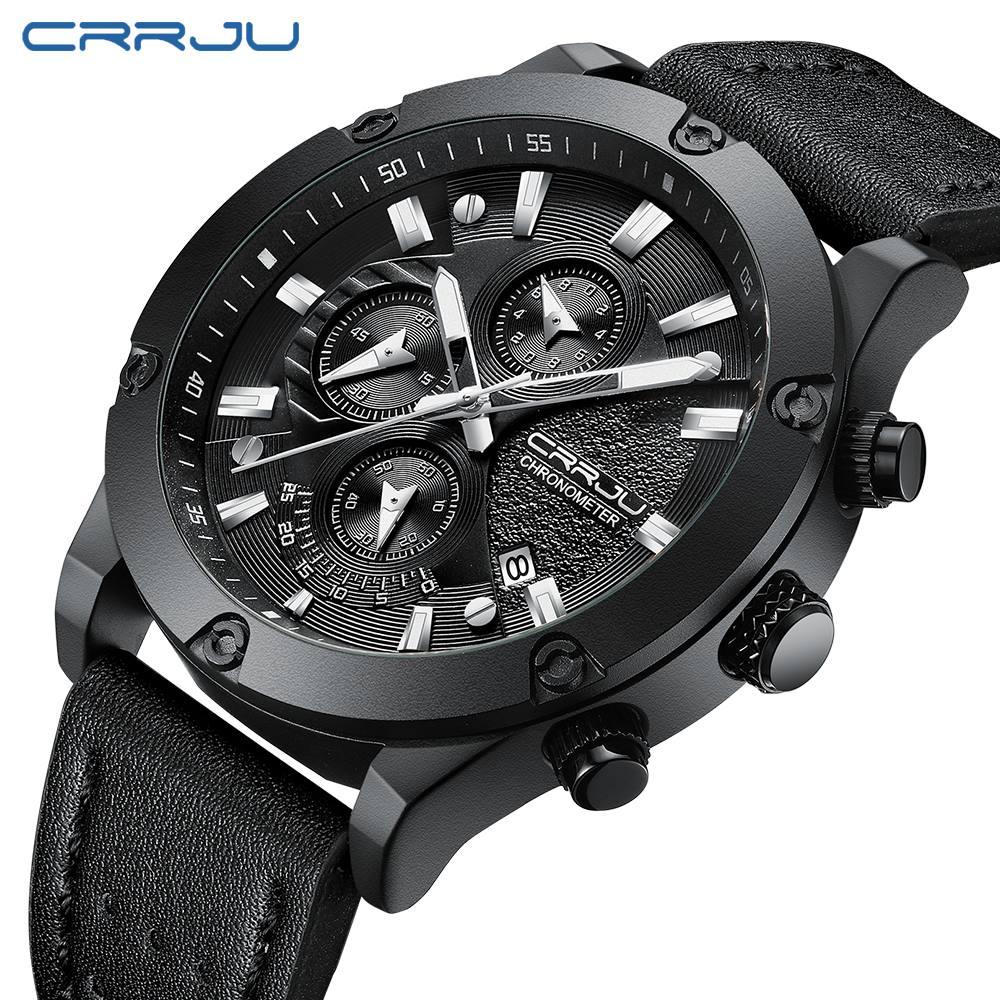 Homens de Moda Couro Relógio de Quartzo dos homens do Cronógrafo de Pulso À Prova D' Água Esportes Ao Ar Livre Relógios Relógio CRJU Luxo|Relógios de quartzo| |  - title=