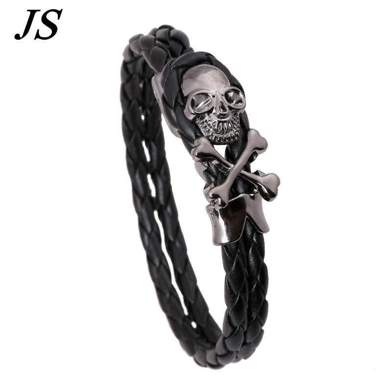JS Vintage Male Braided Black Leather Steampunk Bracelet Designer Skull Braslet Woman Handmade Red Rope Jewelry LB036
