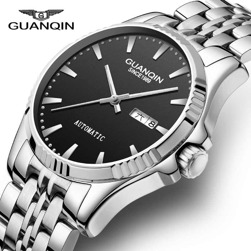 GUANQIN Mens Watches Top Brand Luxury Automatic Mechanical Watch 2018 Casual Leather Sapphire Waterproof Analog Wristwatch Men стоимость