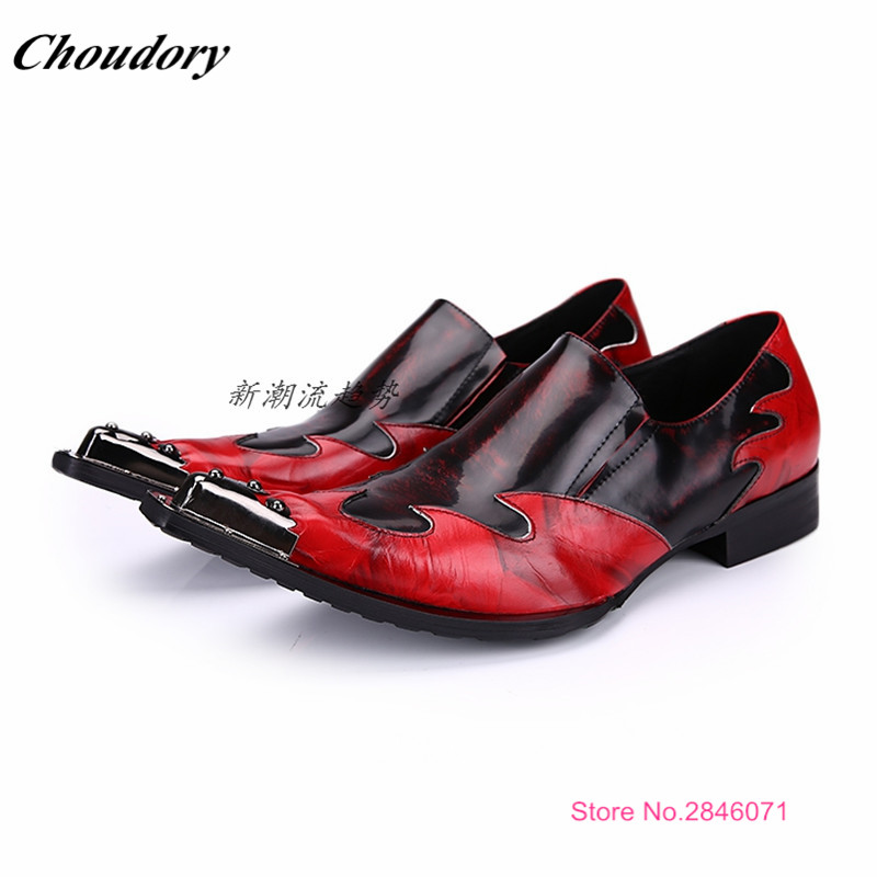 Fashion Italian Designer Iron Head Formal Mens Dress Shoes Genuine Leather Black Luxury Wedding Shoes Men Flats Office For Male