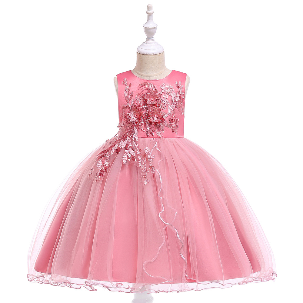 Pink   Flower     Girl     Dresses   For Wedding Tulle 2019 First Communion   dresses   Lace Appliques Children Gowns For Evening Party