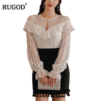 RUGOD Fashion Spring Women Two Piece Set O Neck Sexy Striped Patchwork Flare Sleeve Shirt Black