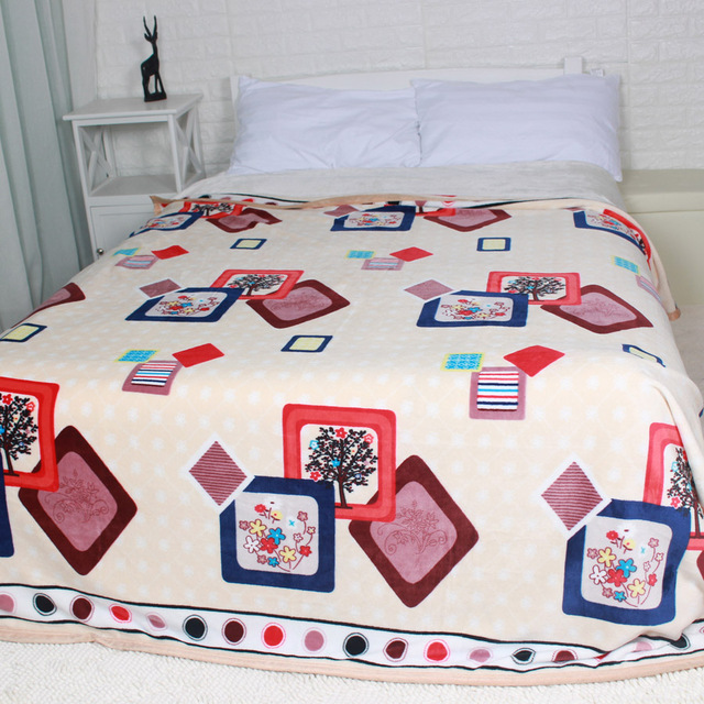 Winter Thick Big Size Flannel Bed Blankets Colorful Plaid Fuzzy