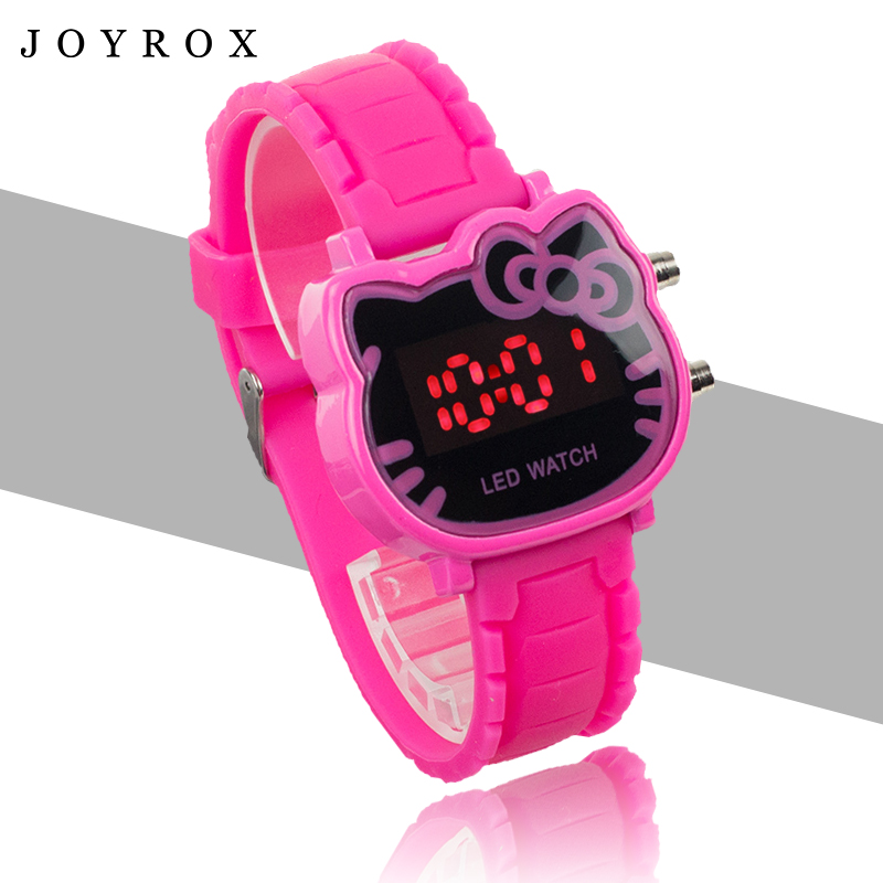 JOYROX Hot Hello Kitty LED Women Watch 2017 Hot Rubber Strap Fashion Girls Kids Digital Wristwatch Casual Clock Relogio Feminino joyrox minions pattern children watch 2017 hot despicable me cartoon leather strap quartz wristwatch boys girls kids clock