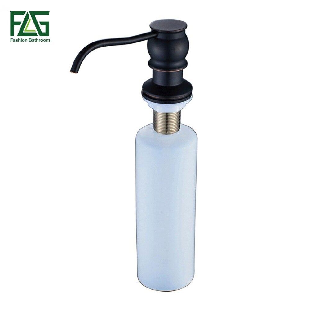 FLG Kitchen Liquid Soap Dispensers Plastic Bottle Kitchen Sink Replacement Hand Oil Rubbed Bronze Black Deck Soap Dispensers 060