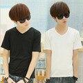 Мужская летние с коротким рукавом мужчин сплошной цвет черный и белый футболку тонкий ход новое поступление тенденции с коротким рукавом
