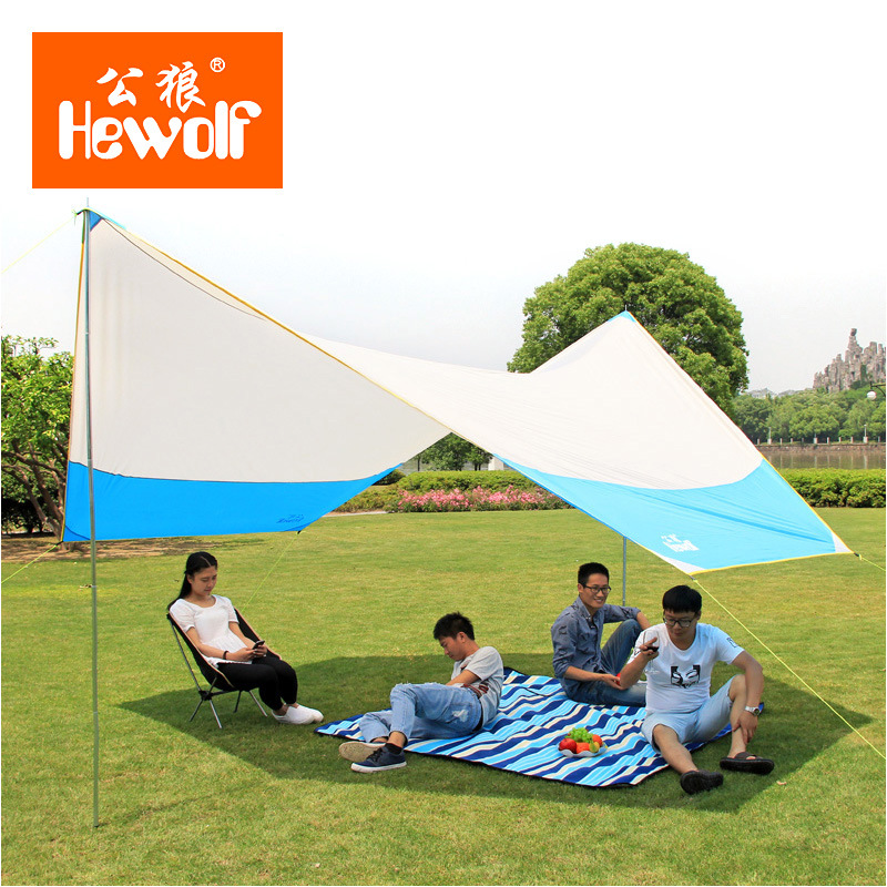 Hewolf 465*400cm outdoor beach camping tent canopy large folding rainproof awning balcony canopy high quality tarp