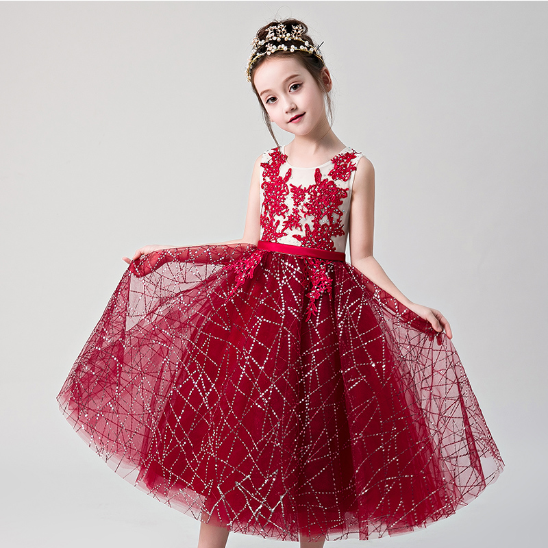 Wine Red Holy Comminion Dress Sequined Appliques Flower Girl Dresses Wedding Evening Dress Ball Gown Princess Formal Dress Party цены онлайн