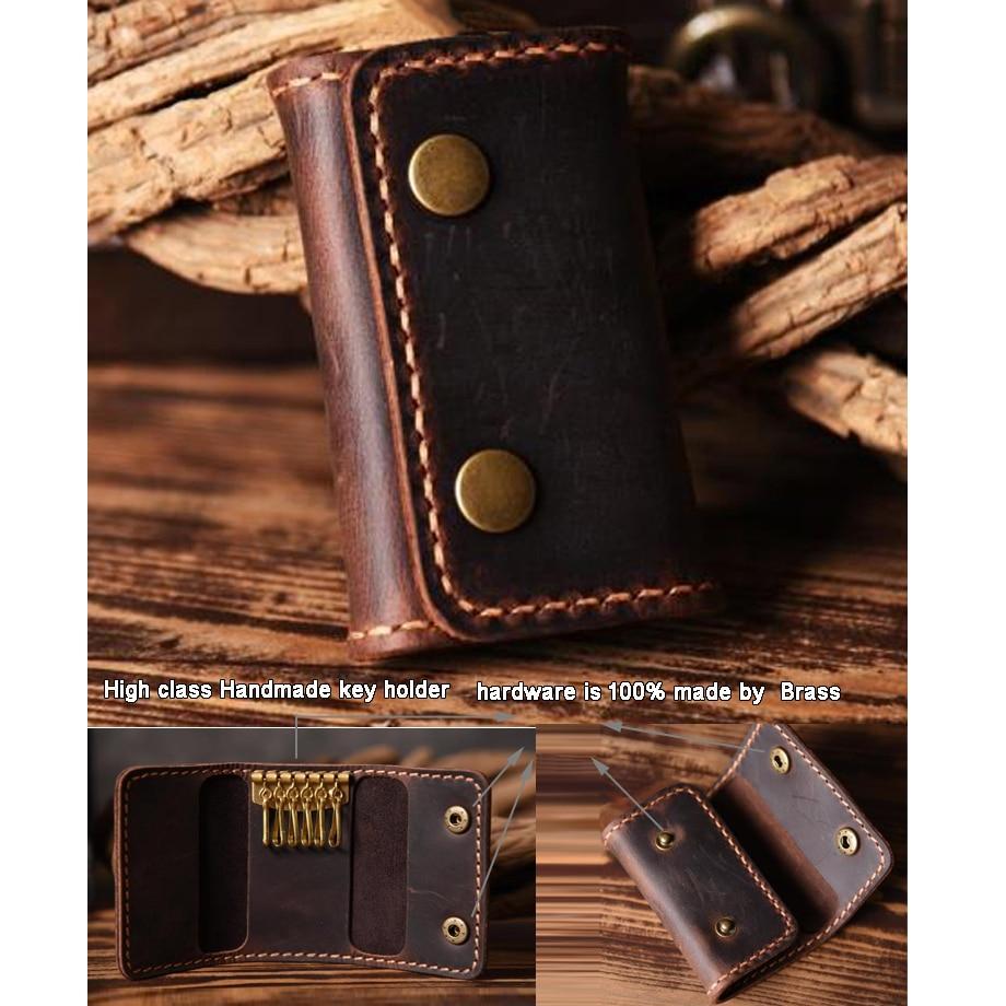 Handmade Leather Car Card Keyring Keychain Wallet Case Holder Gift for Men Women