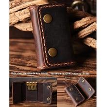 FANCODI Handmade Vintage Genuine Leather Key Holder Men keyChain Cover Leather Key Wallet Men key case bag Women Key Organizer