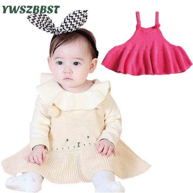 мода младенца вязания крючком платье на бретельках жилет платья для