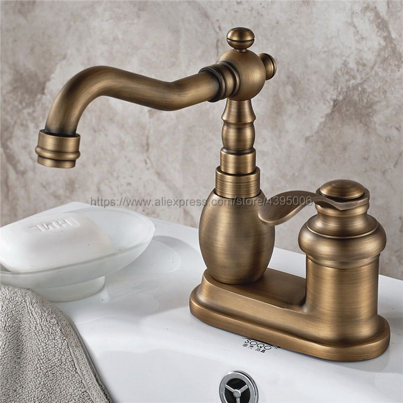 Antique Brass Bathroom Hot and Cold Basin Faucet Lavatory Vanity Sink Mixer Single Handle Two Hole Faucet Bnf429Antique Brass Bathroom Hot and Cold Basin Faucet Lavatory Vanity Sink Mixer Single Handle Two Hole Faucet Bnf429