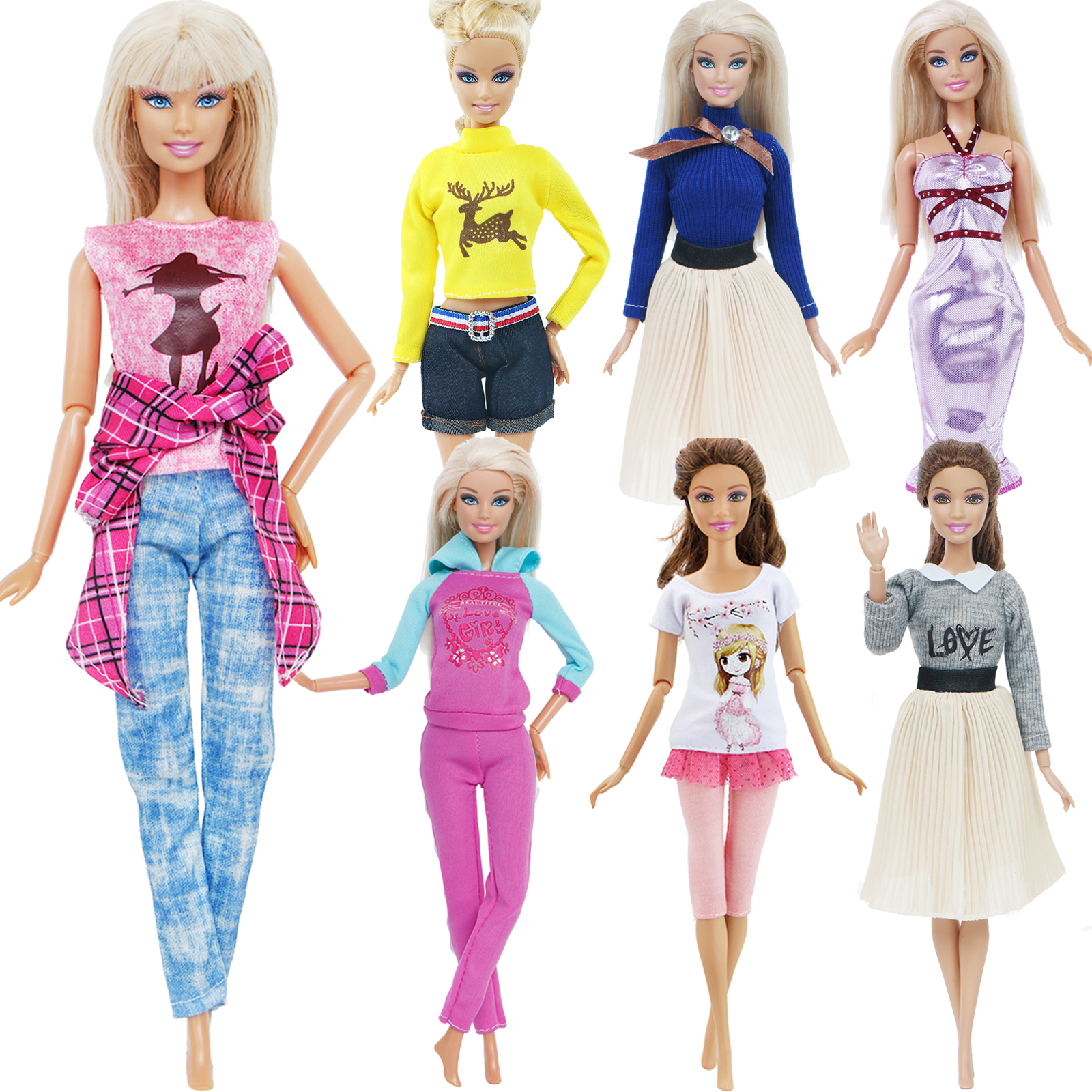 1x Doll Clothes Fashion Dress Daily Wear Skirt Party Gown Blouse Pants For Barbie Doll Accessories Lovely Girl Kid Toy