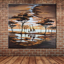 African Landscape Giraffe Families Oil Painting Hand Painted Large Animal Wall Picture Decoration for Kid's Room(No Frame)(China)