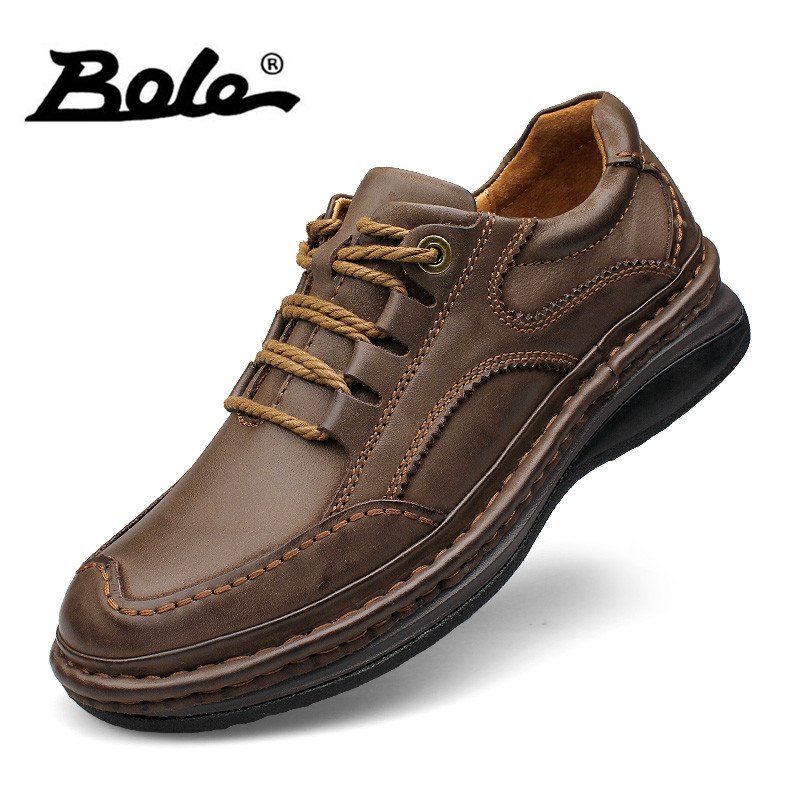 BOLE Véritable En Cuir Casual Chaussures Hommes Semelle Épaisse Hauteur Croissante 4 cm Sneakers En Cuir Semelle En Caoutchouc Chaussures antidérapantes haute Qualité