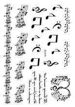 SC2973 Large Taty Sketch Black White Music Notes Water Transfer Body Art Temporary Tattoo Stickers Fake Tatoos Tatouage