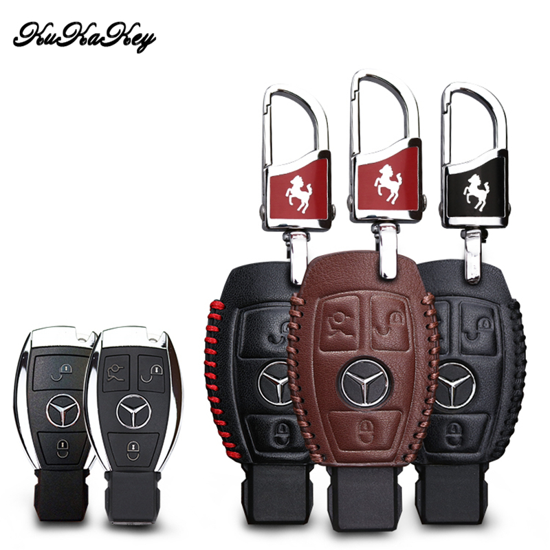 KUKAKEY Car Key Case For Mercedes Genuine Leather Key Case Cover For Benz W124 W202 W 210 W210 W211 Amg W204 Car Key Bag Holder