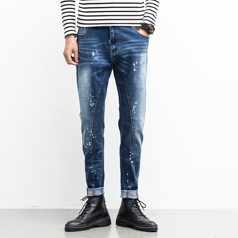 ФОТО Men Jeans Ripped Biker Hole Denim robin patch embroidery Harem jeans for men Pants