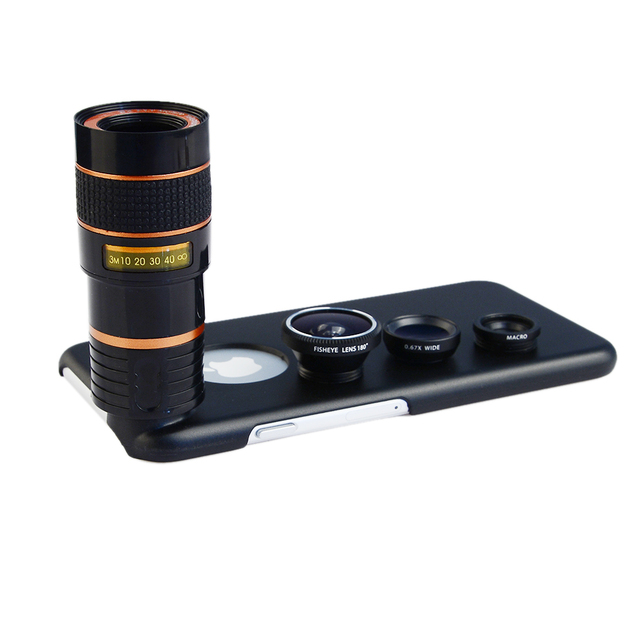 8X Telephoto Zoom Lens + Fisheye Fish Eye+ Wide Angle+ Macro Camera Lens Kit with case for apple iphone 6/6S Mobile Phone Lenses 4