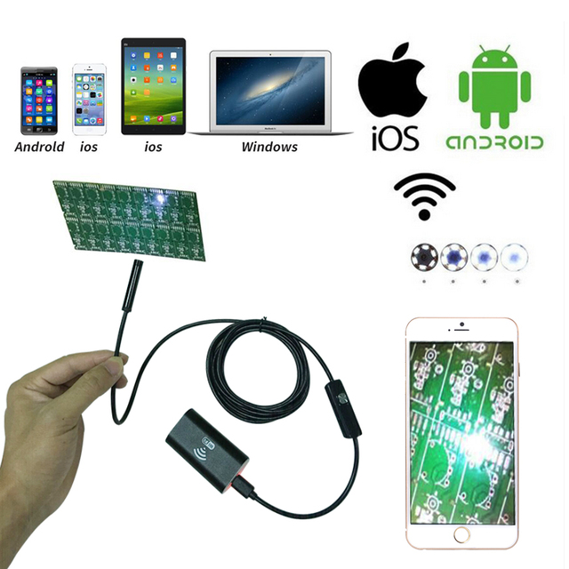 1-5M 6LED Waterproof WiFI Borescope Inspection Endoscope Tube Camera for Android BI558-561