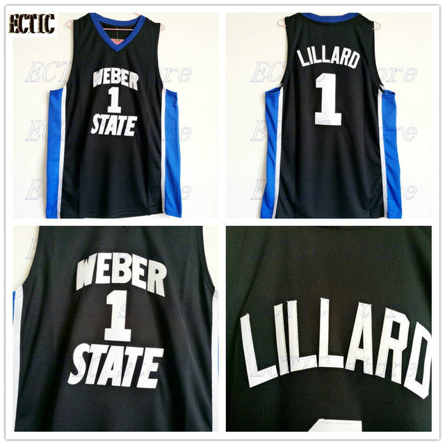 531e8c0ea6e ... czech 2018 mens ectic damian lillard jersey cheap throwback basketball  jersey 1 weber state college basket