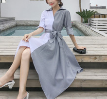 Spring and summer new style Korean version of the slim midi dress Irregular stitching Cool wind