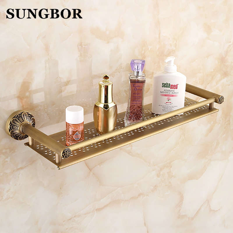 Antique copper single tier bathroom shelves rack, Kitchen brass retro style square wall mounted storage shelf GJ-61013F black bathroom shelves stainless steel 2 tier square shelf shower caddy storage shampoo basket kitchen corner shampoo holder