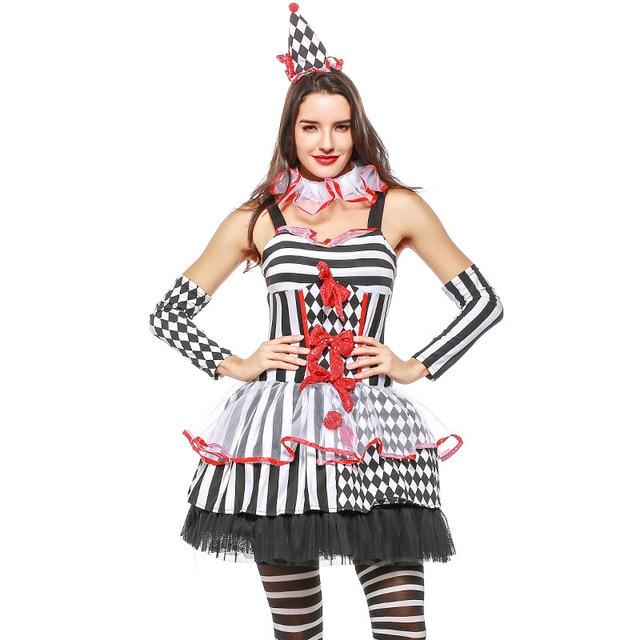 0cf73499bfddf Harlequin Clown Costume Black White Stripe Ruffle Jester Fancy Dress Circus Harley  Quinn Cosplay Halloween Costume For Women