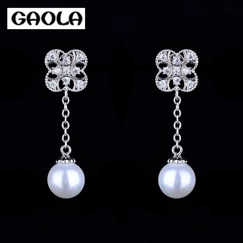 81354a98fad5 2015 AAA cúbicos zirconia moda plateado blanco perla Pendientes gle4779