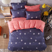 cats foot mark printed bedding set comforters single twin full queen king size Children's girl's babys bedroom purple pink color
