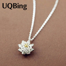 Drop Shipping 925 Sterling Silver Chain Necklaces Lotus Flower Pendants&Necklaces Jewelry Collar Colar de Plata