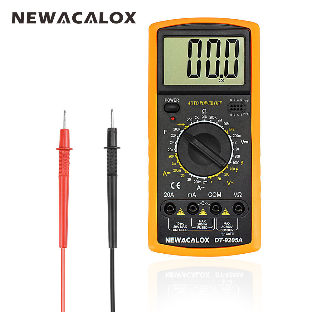 NEWACALOX Digital Multimeter Multifunctional LCD AC DC AMP Automatic Multimeter Ammeter Resistance Capacitance Meter Repair Tool vc99 auto range 3 6 7 digital multimeter 20a resistance capacitance meter voltmeter ammeter alligator probe thermal couple tk