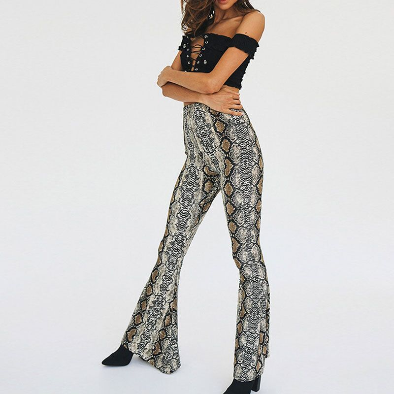 2018 Women Autumn Fashion Snake Skin Print Wide Leg Pants Sexy Party Club Flare Pants Casual