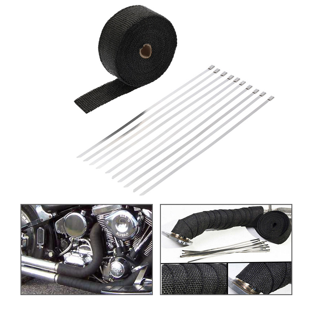 SI-A0258 15m Exhaust Heat Wrap Turbo Pipe Heat Insulated Wrap 10 30cm Cable Ties for Car Motorcycle