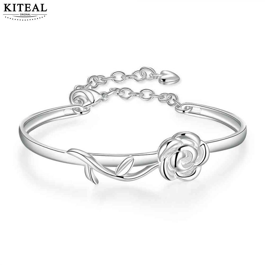 New Arrival!! silver plated friendship bangle diameter 6cm Rose flowers bangle for women Women Wedding Bracelet Wholesale