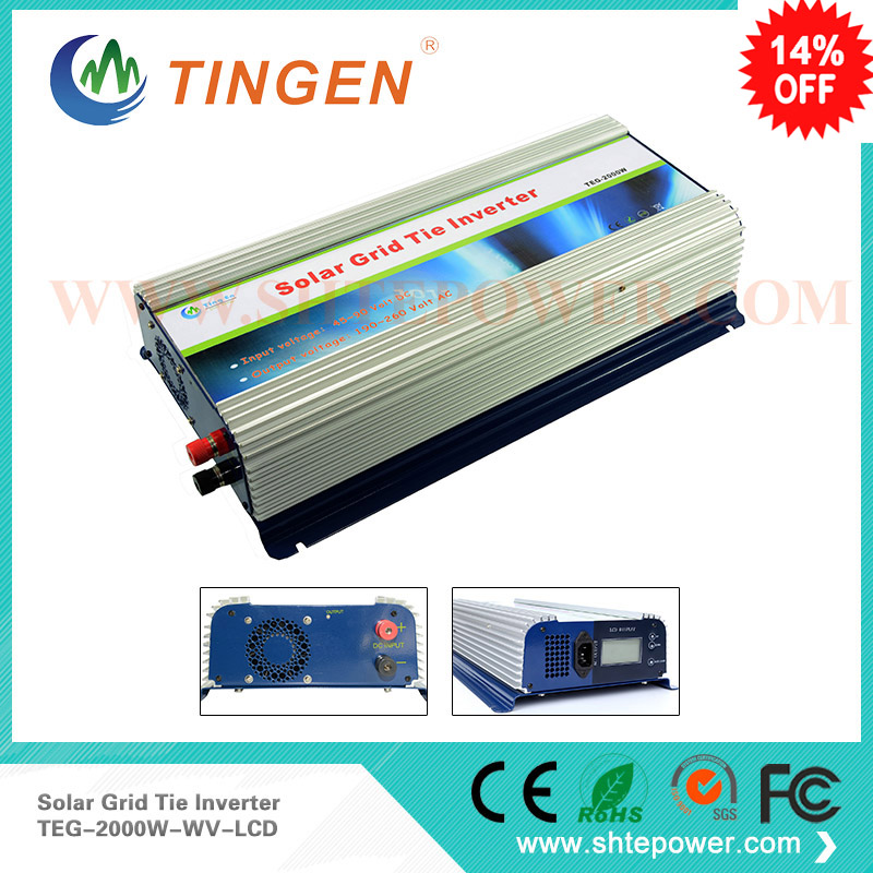 2kw solar grid tie inverter 2000w for home use dc input 45-90v to ac output 90-130v 190-260v with lcd display 300w home solar inverters mppt function dc 22 60v to output ac can adjustable 90 130 or 190 260v