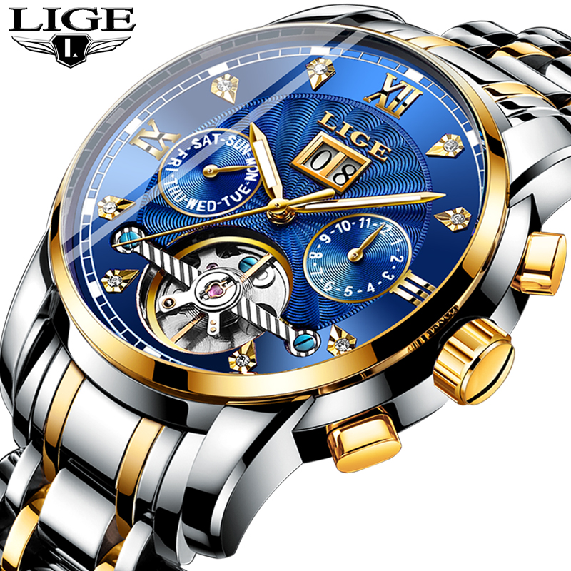 LIGE Mens Watches Top Brand Luxury Automatic Mechanical Watch Men Full Steel Business Waterproof Sport Watches Relogio MasculinoLIGE Mens Watches Top Brand Luxury Automatic Mechanical Watch Men Full Steel Business Waterproof Sport Watches Relogio Masculino