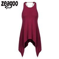 Zeagoo Women Summer Tank Tops O Neck Chain Backless Solid Irregular Casual Tank Top Fashion Ladies