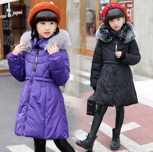Teenager Girls Winter Jacket Hooded Cotton Coat Thick Long Parkas Fur Collar Children Warm Casual Outwears brand fashion long winter jacket women slim solid hooded fur collar zippers ladies long jacket warm cotton coat plus size xxxl