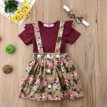 Летний комплект одежды для новорожденных из 3 предметов; платье с цветочным принтом для маленьких девочек; комбинезон с короткими рукавами