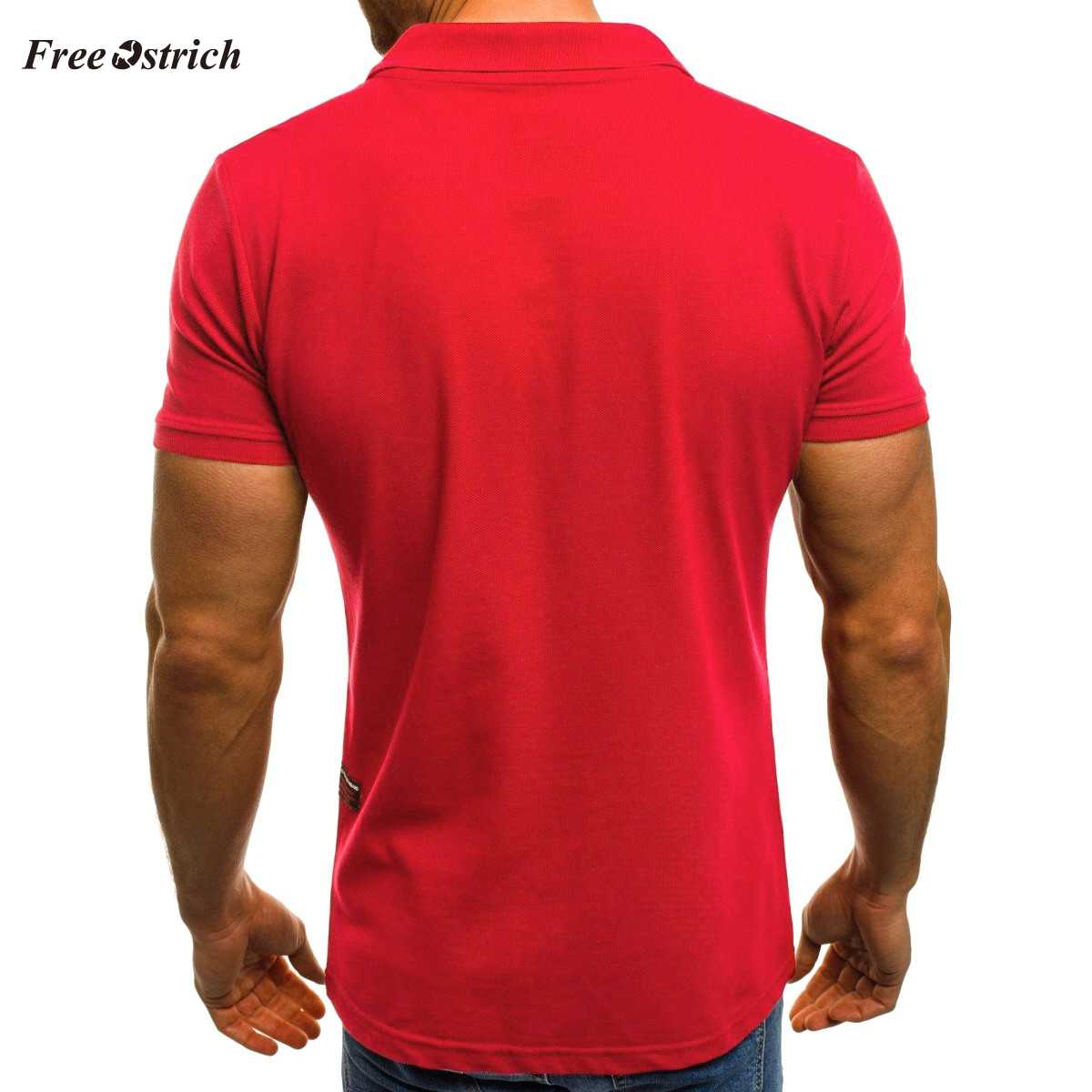 Free Ostrich Men's Polp Shirts With Pocket Zipper Short Sleeve Blouses For Men Breathable Materials Turn-down Collar Shirts