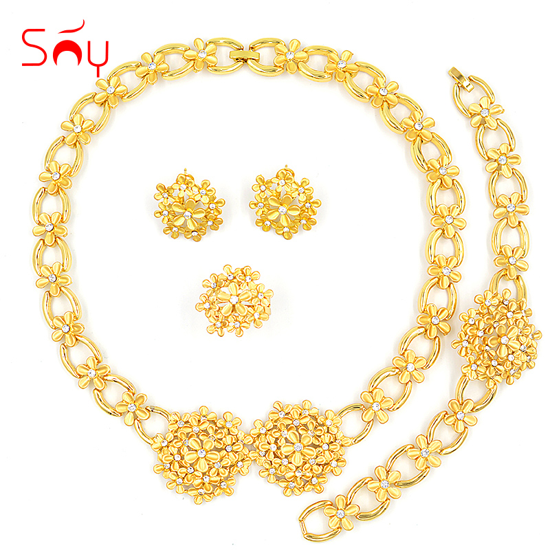 Sunny Jewelry Romantic Jewelry Cubic Zirconia Round Flower Bridal Jewelry Set Wedding For Women Necklace Earrings Ring Bracelet 4pcs bridal fashion flower cubic zirconia inlaid wedding necklace dangle earrings bracelet ring jewelry set boucle d oreille