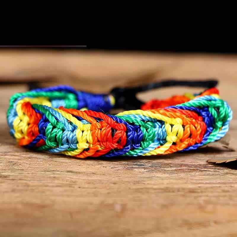 Pulsera de arco iris trenzada de cuerda hecha a mano pulsera de hilo rojo para hombre, pulsera de Orgullo Gay, joyería Bff, regalos de amistad
