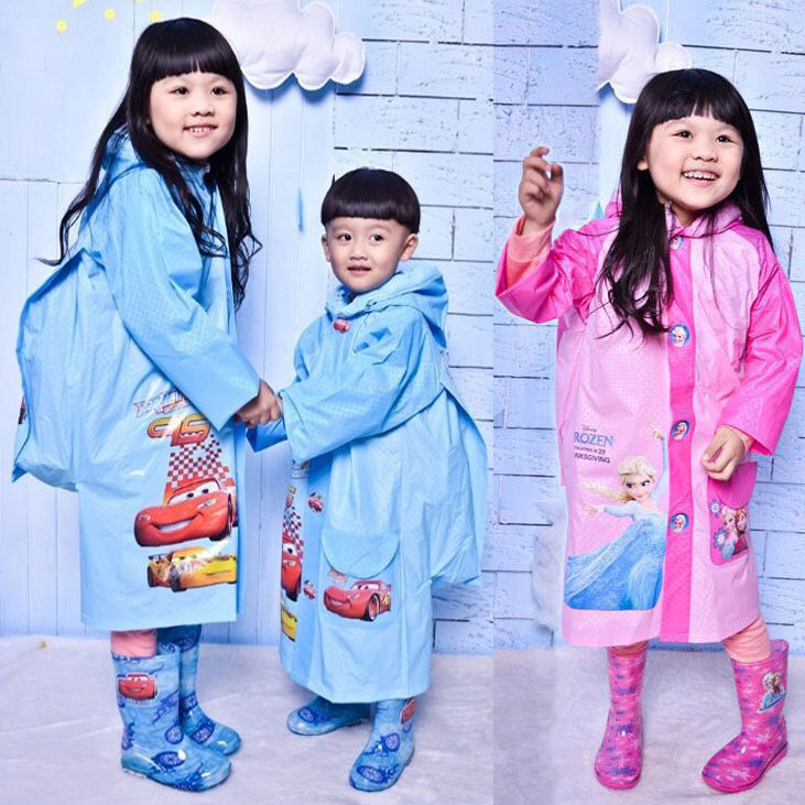 Waterproof Portable Raincoat for Boy Girl Hooded Backpack Raincoat Outdoor Traveling Rainwear Kids Rain Poncho