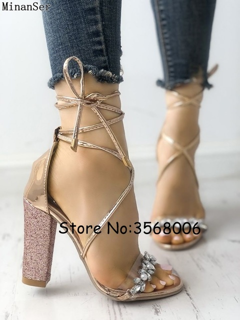 ff28242c73a Shiny Crystal Transparent Strappy Chunky Heeled Sandals Silver Gold  Rhinestone Flower Women Cross Strap Lace Up High Heels Shoes