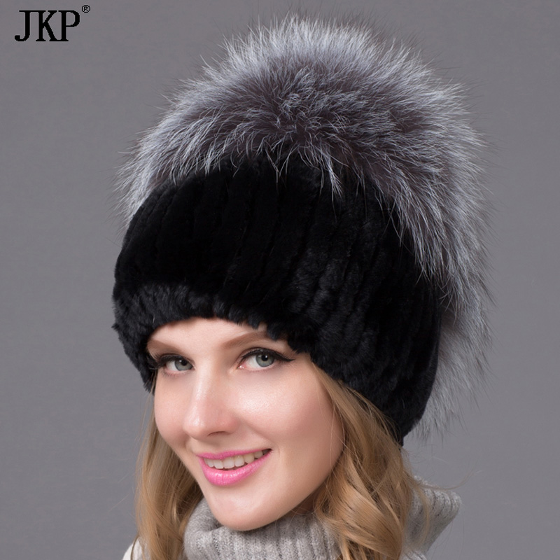 real natural Rex rabbit fur hat female winter thick warm knit cap women fox fur hat THY-09